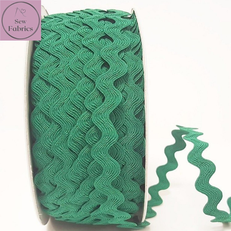 Bertie's Bows Emerald Green 13mm Large Ric Rac Trim, Edging, Fringe, Braid, Craft