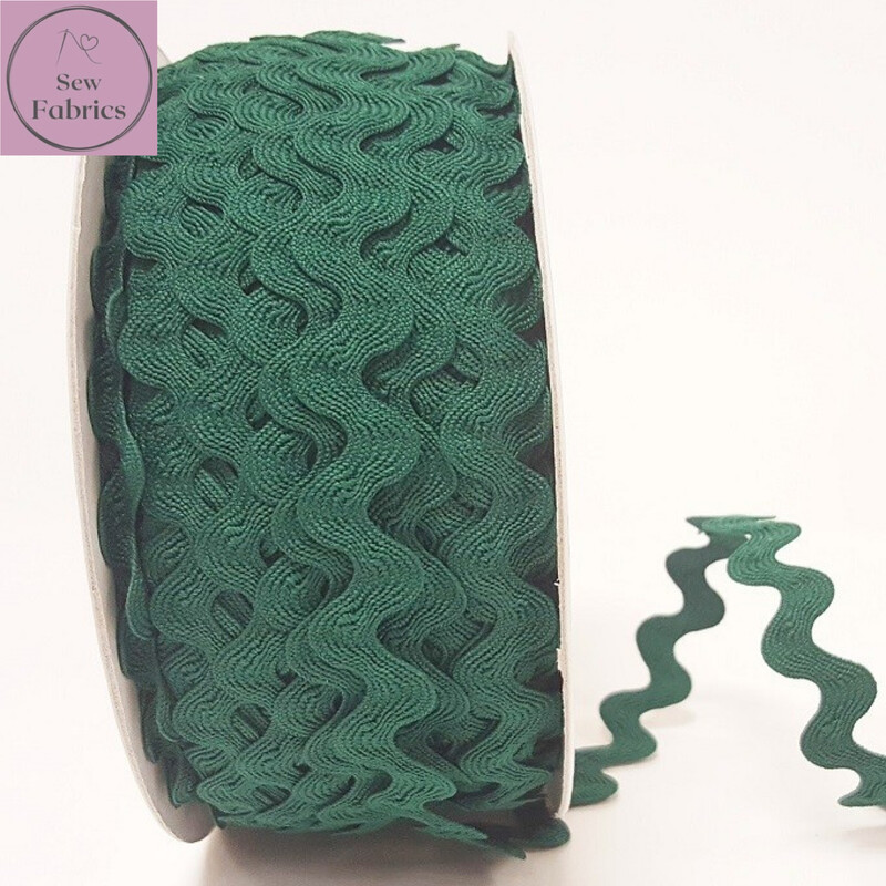 Bertie's Bows Forest Green 13mm Large Ric Rac Trim, Edging, Fringe, Braid, Craft