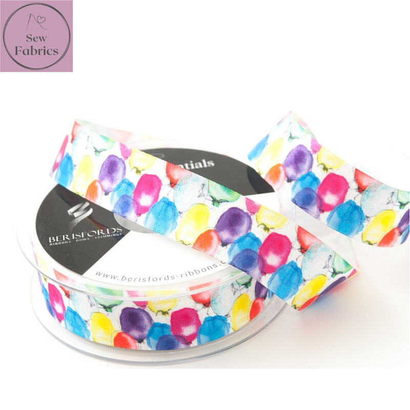 25mm Bertie's Bows Berisford Balloon Design Satin Ribbon By The Metre, for cake decoration, birthday, celebration