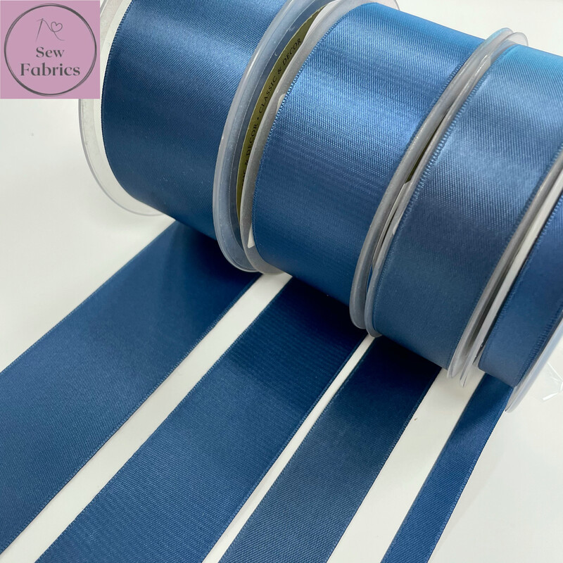 Safisa Antique Blue Plain Double Faced Satin Ribbon in Various Widths By The Metre