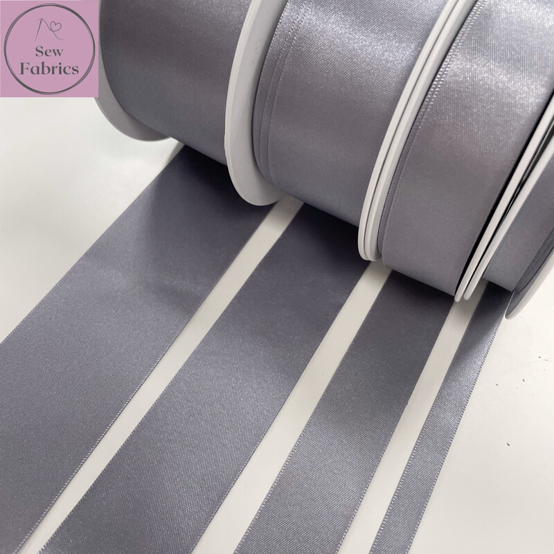 Bertie's Bows Berisford Slate Grey Plain Double Satin Ribbon in Various Widths By The Metre