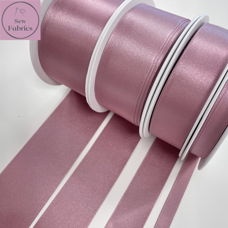 Bertie's Bows Berisford Colonial Rose Pink Plain Double Satin Ribbon in Various Widths By The Metre