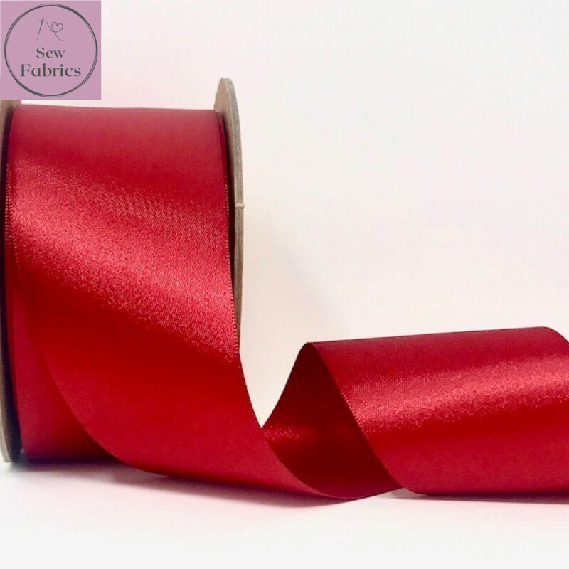 Berisford Red Plain Double Satin Ribbon in Various Widths By The Metre
