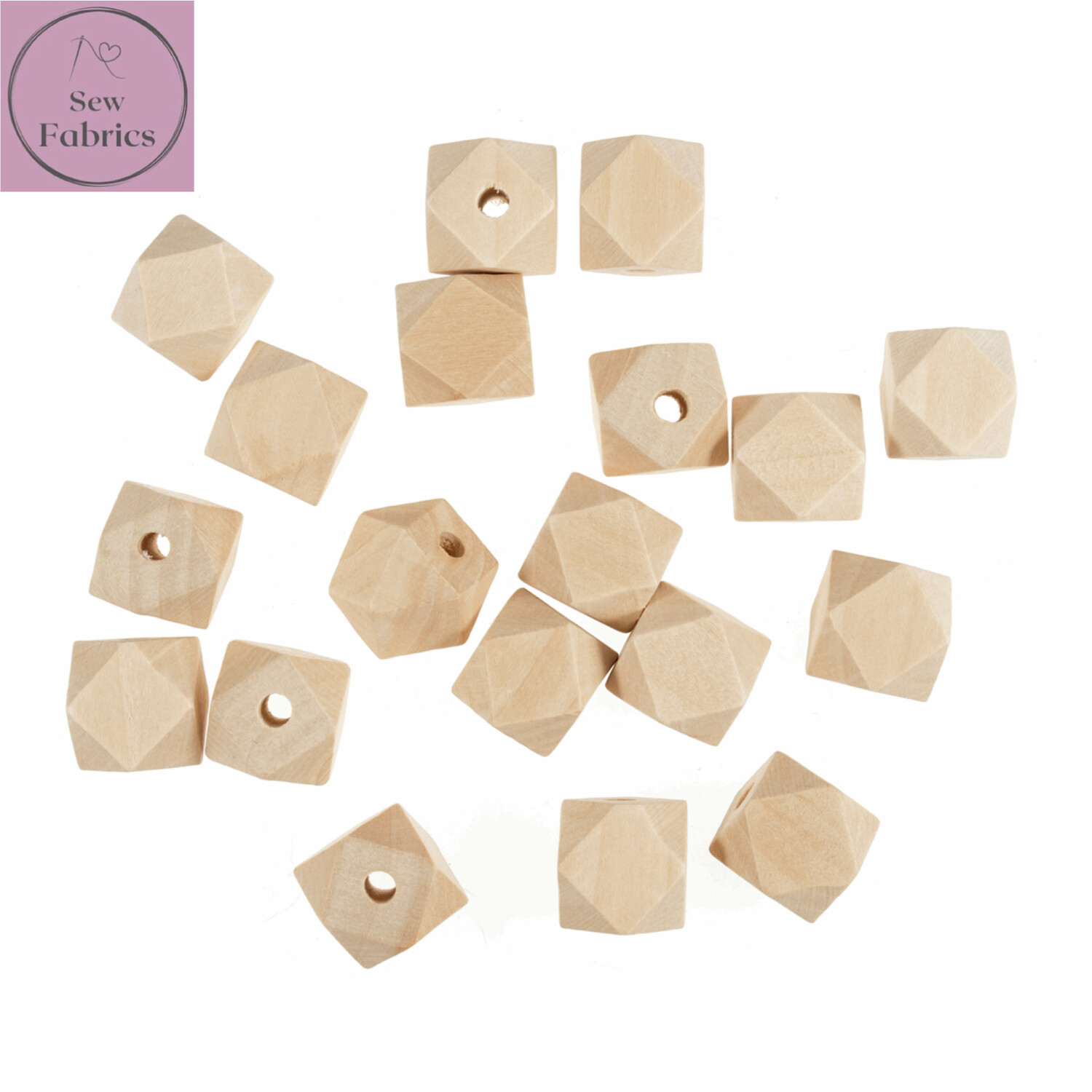 Pack of 5 x 20mm Geo-Cut Trimits Wooden Beech Beads with 5mm Centre Hole, Macrame, Decorations