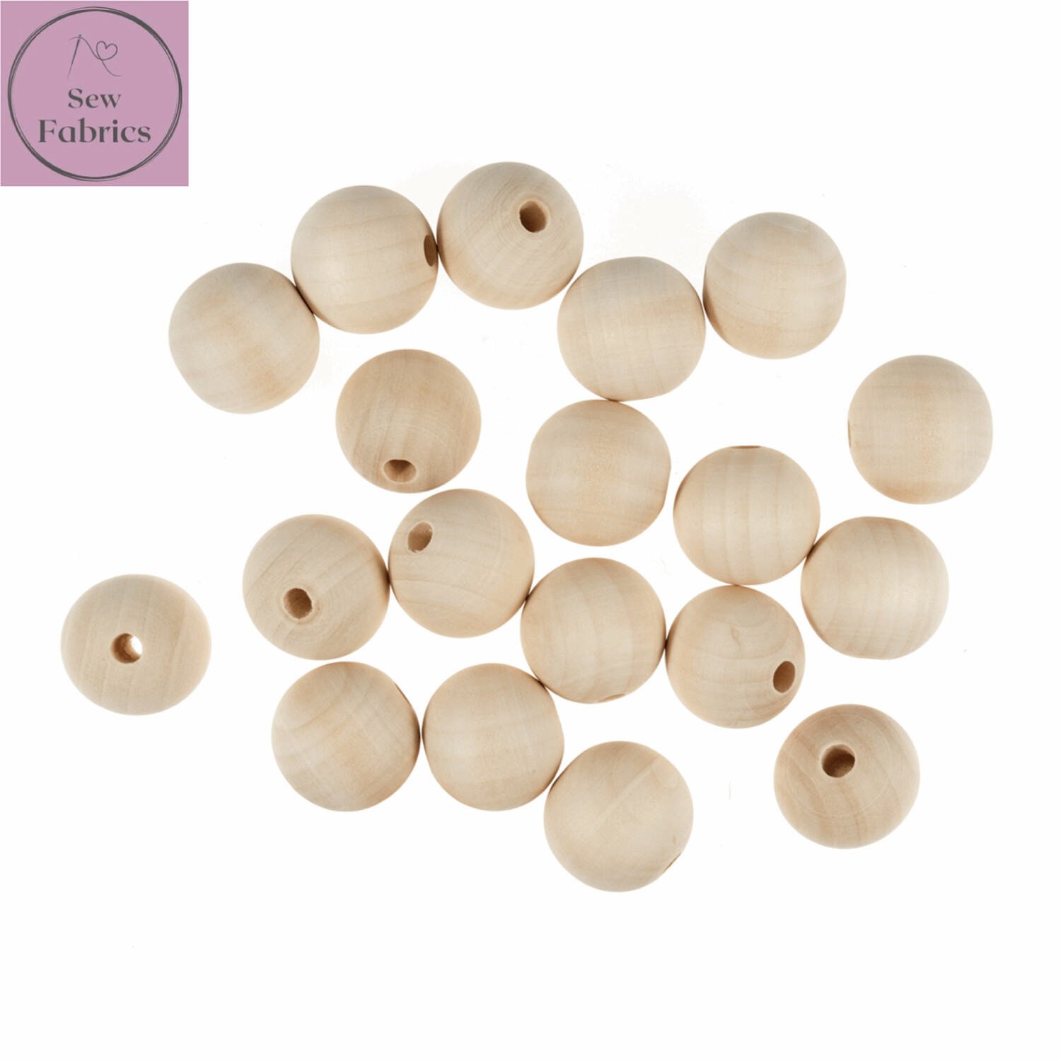 Pack of 5 x 30mm Round Trimits Wooden Beech Beads with 5mm Centre Hole, Macrame, Decorations