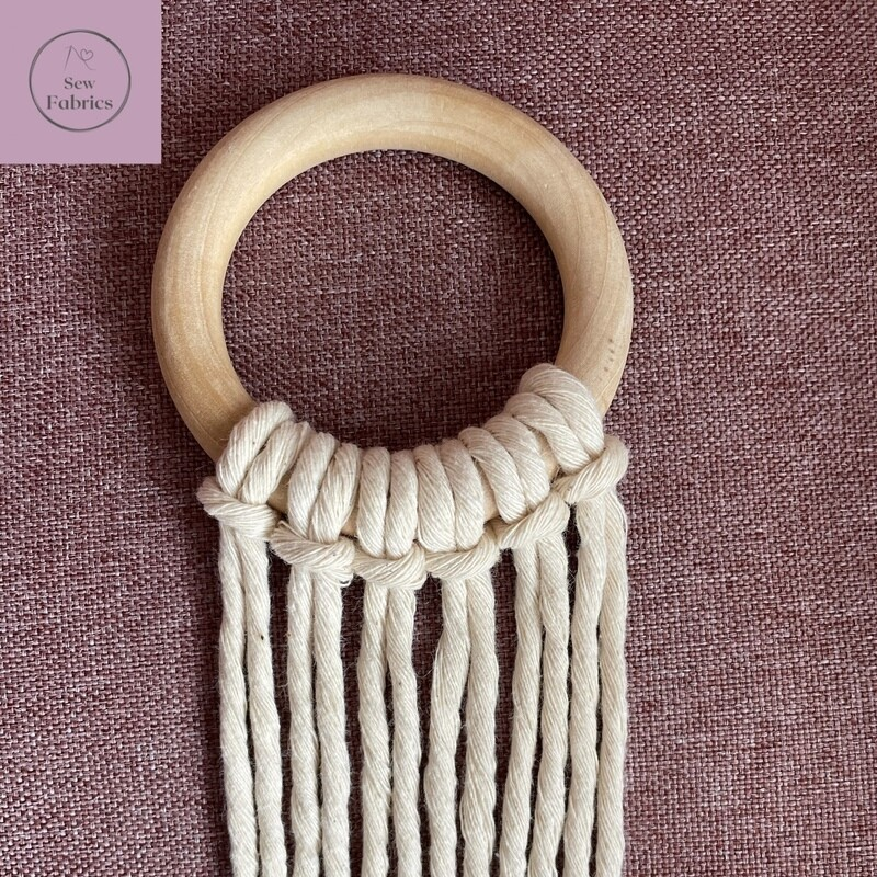 Macrame Craft Kit including Wooden Craft Ring 5.5cm Diameter plus 13mts of 4mm Natural Macrame String Cord, for Macrame, Plant Holder or Wall hanging projects