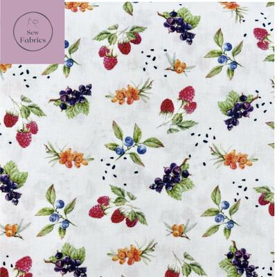 """John Louden Summer Berries Fabric 100% Cotton 60""""/150cm Width, Nature Dress Craft Quilt Material"""