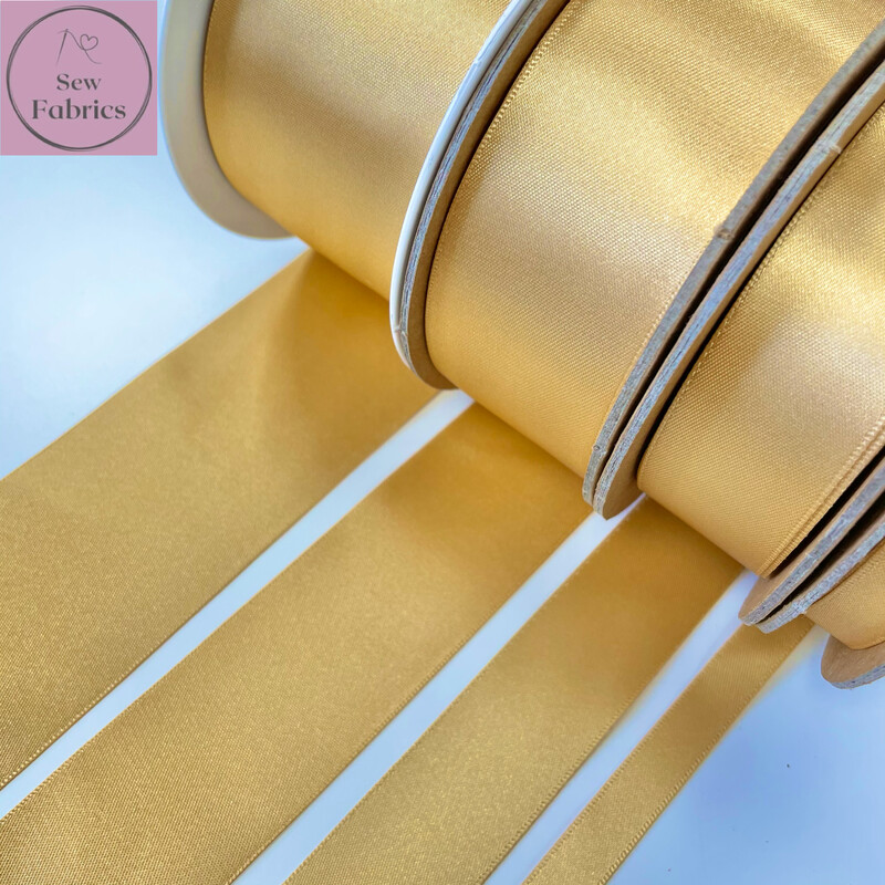 Berisford Honey Yellow Plain Double Satin Ribbon in Various Widths By The Metre