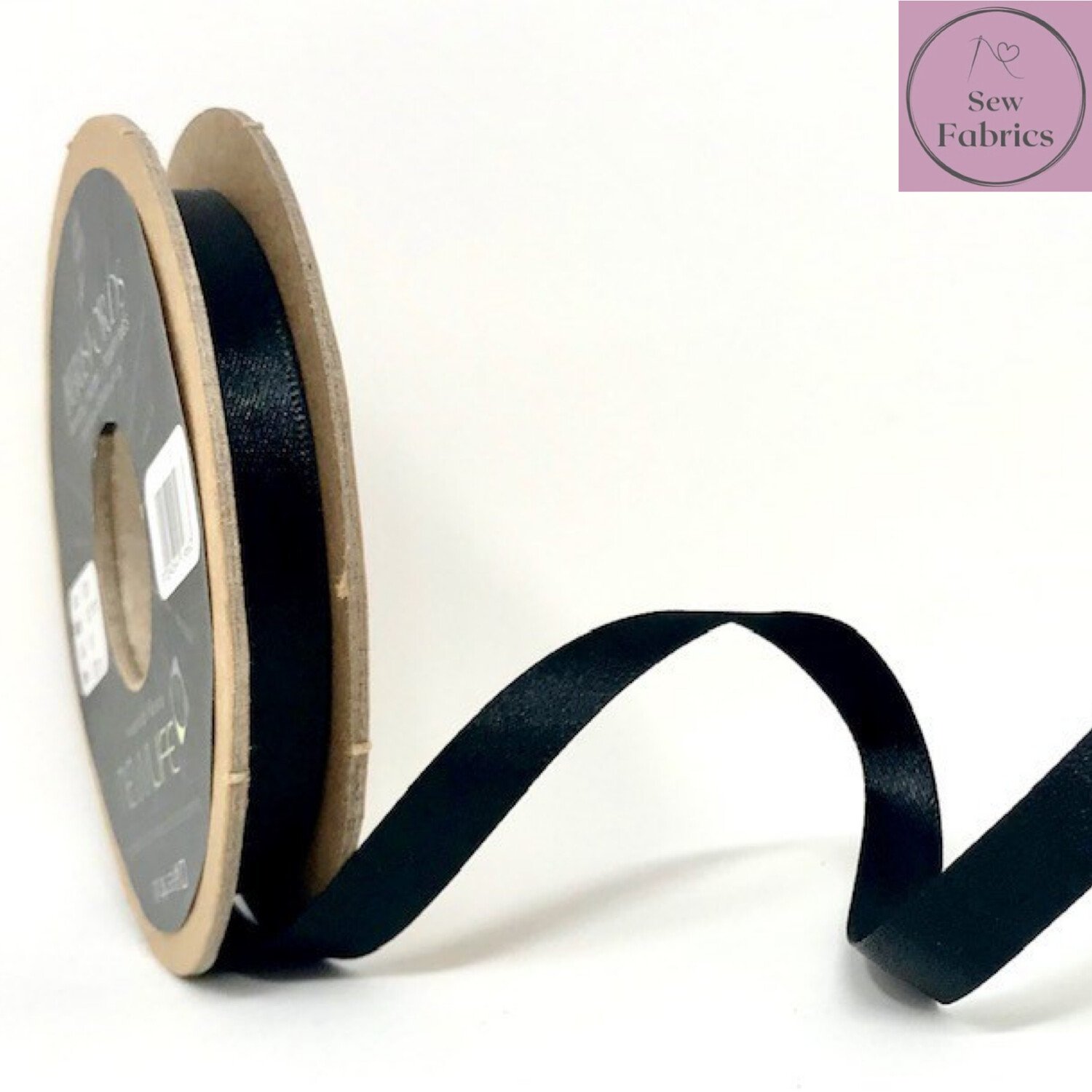 Berisford Black Plain Double Satin Ribbon in Various Widths By The Metre
