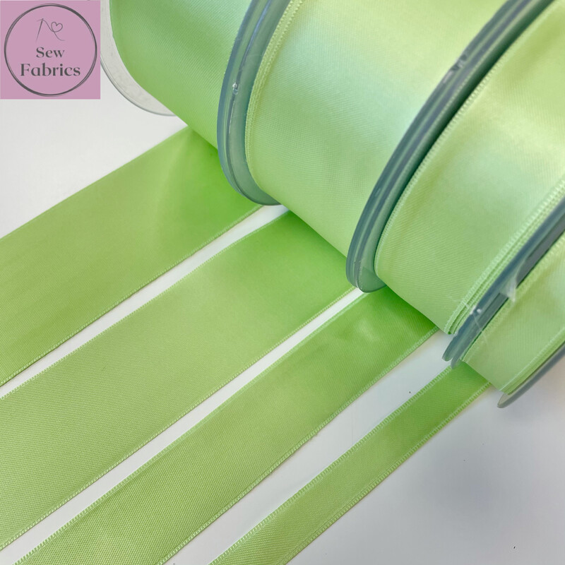 Safisa Antique Mint Plain Double Faced Satin Ribbon in Various Widths By The Metre