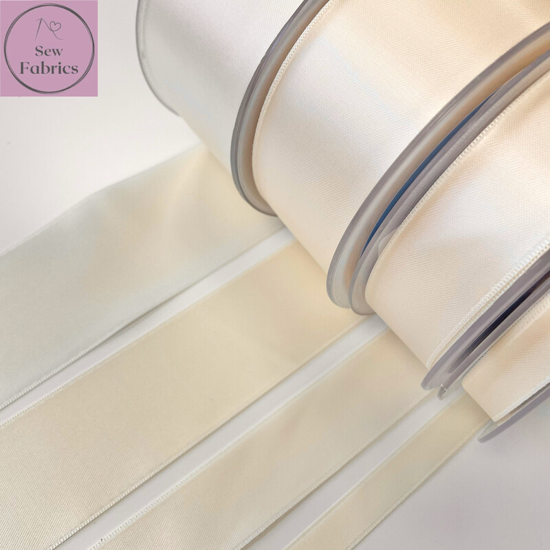 Safisa Antique Ivory Plain Double Faced Satin Ribbon in Various Widths By The Metre