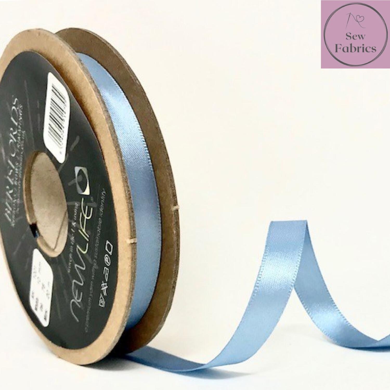 Berisford Cornflower Blue Plain Double Satin Ribbon in Various Widths By The Metre