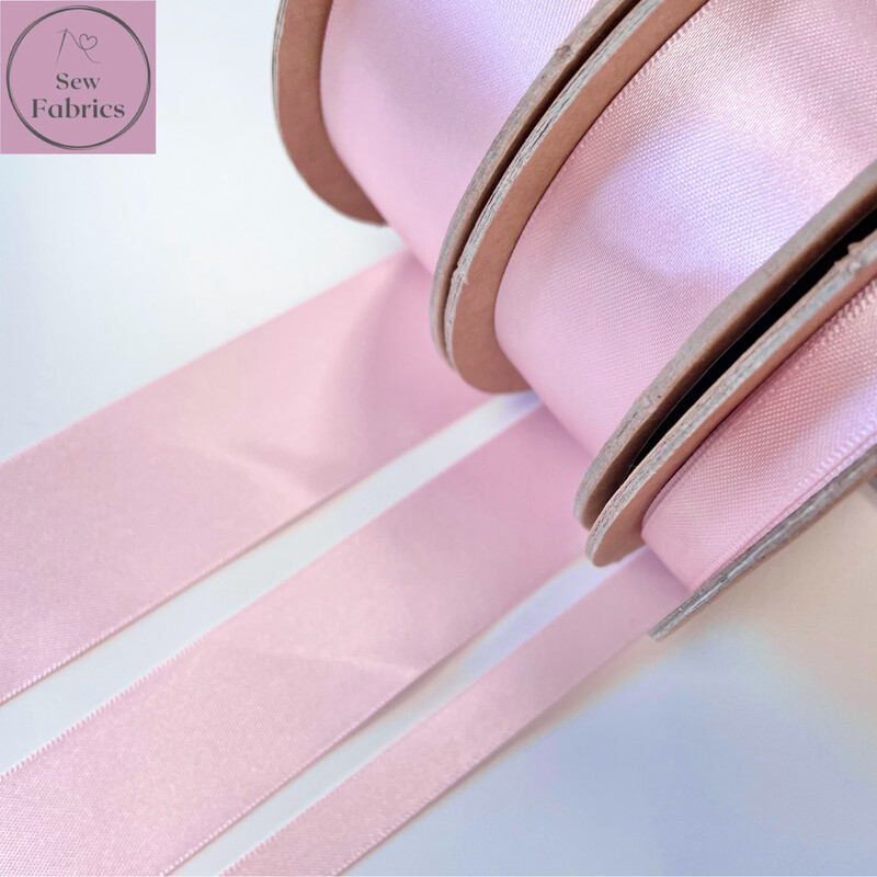 Berisford Pale Pink Plain Double Satin Ribbon in Various Widths By The Metre