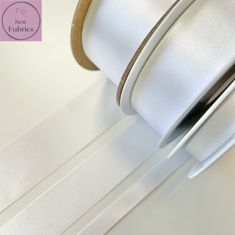 Berisford White Plain Double Satin Ribbon in Various Widths By The Metre