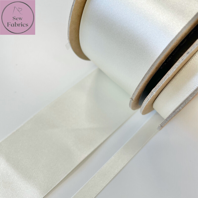 Berisford Bridal White Plain Double Satin Ribbon in Various Widths By The Metre
