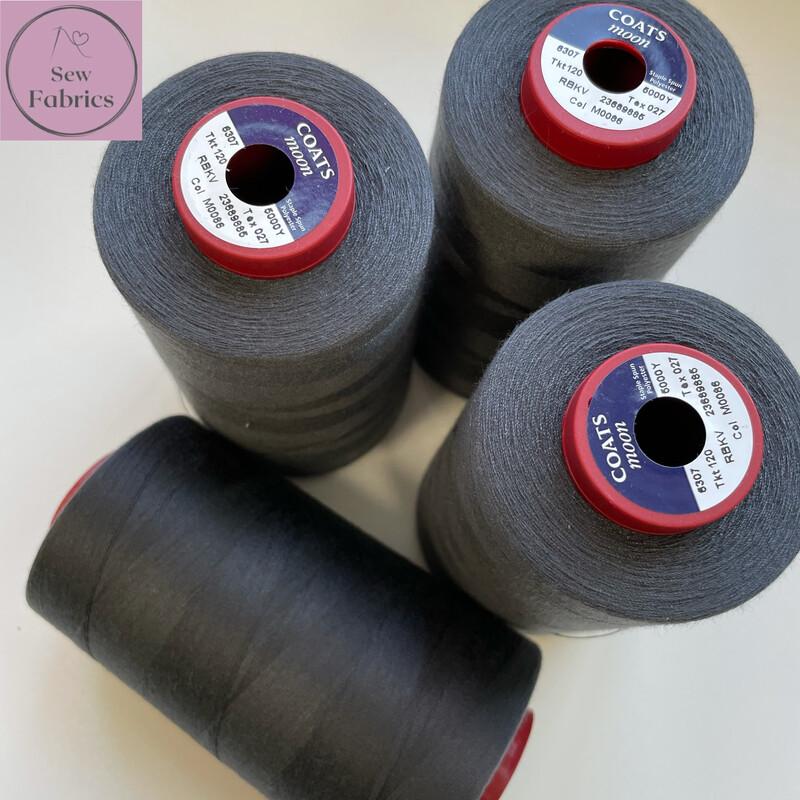 5000y Moon Polyester Thread Cone, Overlocker - Dark Grey M086
