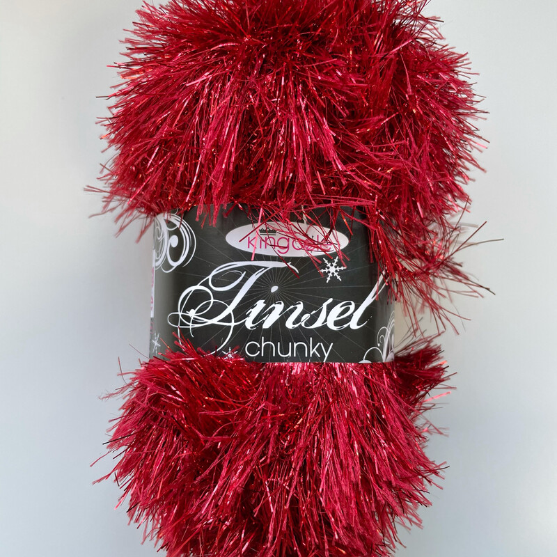 King Cole Tinsel Chunky Festive Christmas Yarn - Claret Red 215