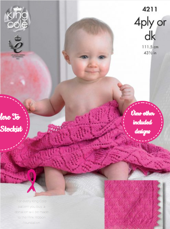 King Cole Baby Blanket 4ply or DK Pattern 4211