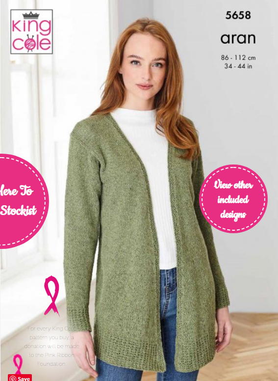 King Cole Cardigans: Knitted in Forest Aran Pattern 5658