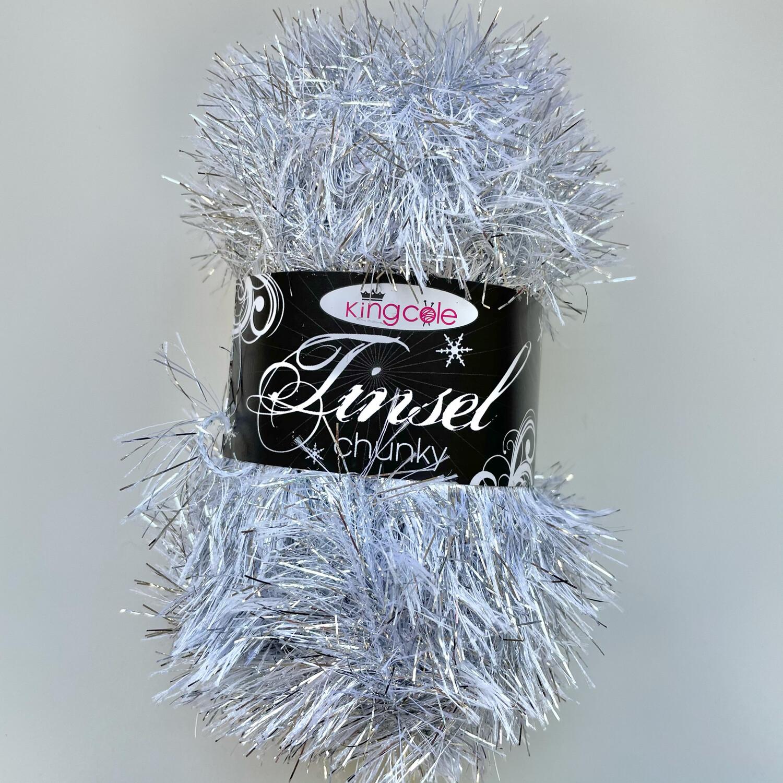 King Cole Tinsel Chunky Festive Christmas Yarn - Silver 206