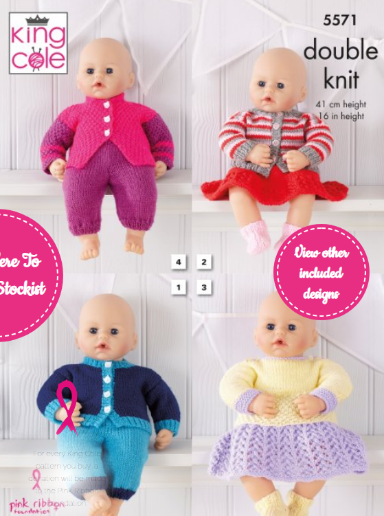 King Cole Dolly Clothes Pattern 5571
