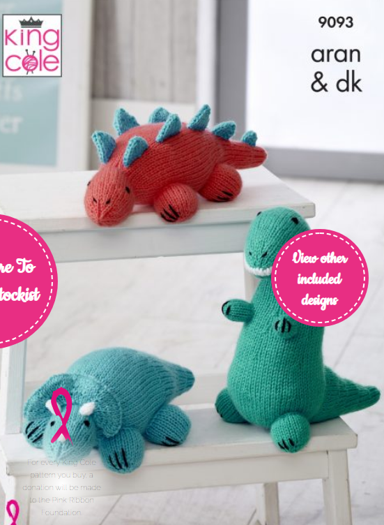 King Cole Knitted Dinosaurs Pattern 9093