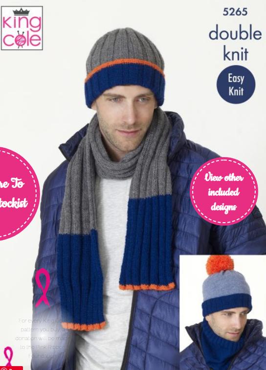 King Cole Men's Hats, Scarves, Snoods Pattern 5265