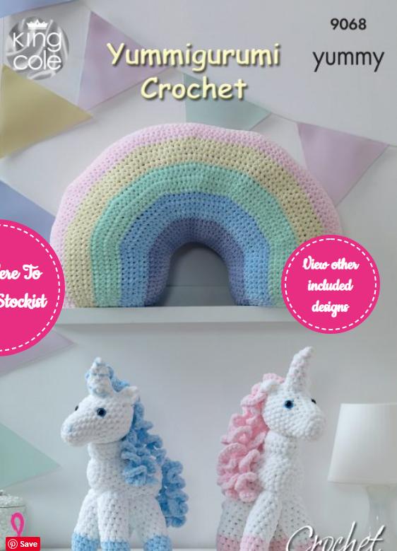 King Cole Crochet Unicorns & Rainbow Cushion Pattern 9068