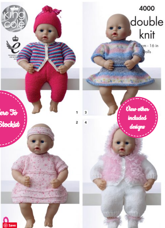 King Cole Dolly Clothes Pattern 4000