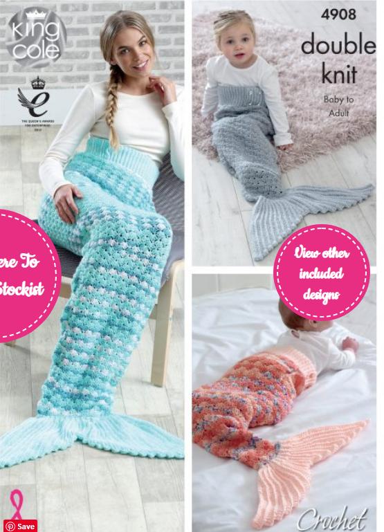 King Cole Mermaid Tail Blanket Crochet Double Knit Pattern 4908