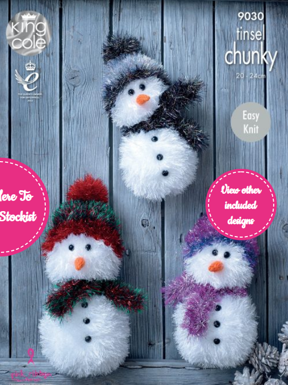 King Cole Snowmen Knitted with Tinsel Chunky Pattern 9030