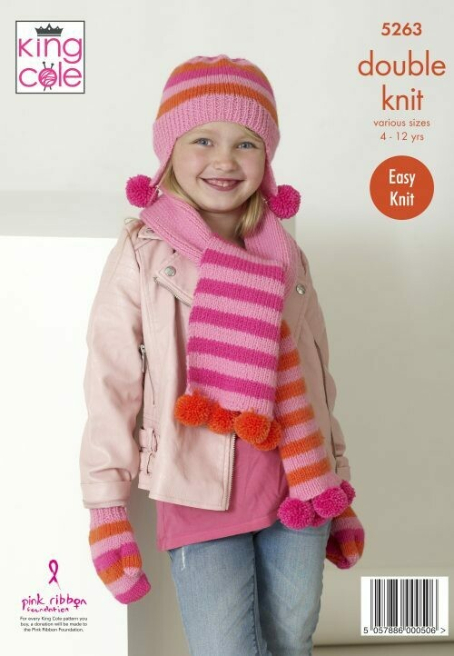 King Cole Scarves, Helmets & Mitts Pattern 5263