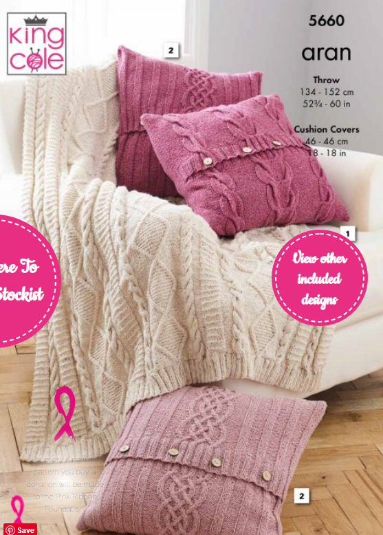 King Cole Throw & Cushion Covers Pattern 5660