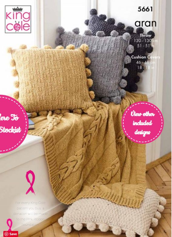 King Cole Throw & Cushion Covers Pattern 5661