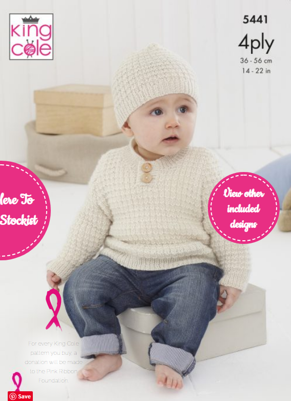 King Cole Sweater, Slipover & Hat Pattern 5441