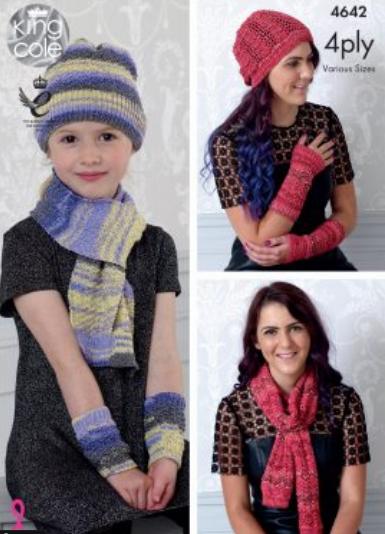 King Cole Scarf, Hat & Wrist Warmers Pattern 4642