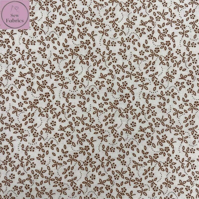 Camel on Ivory Background 100% Craft Cotton Ditsy Daisy Fabric, Floral Material