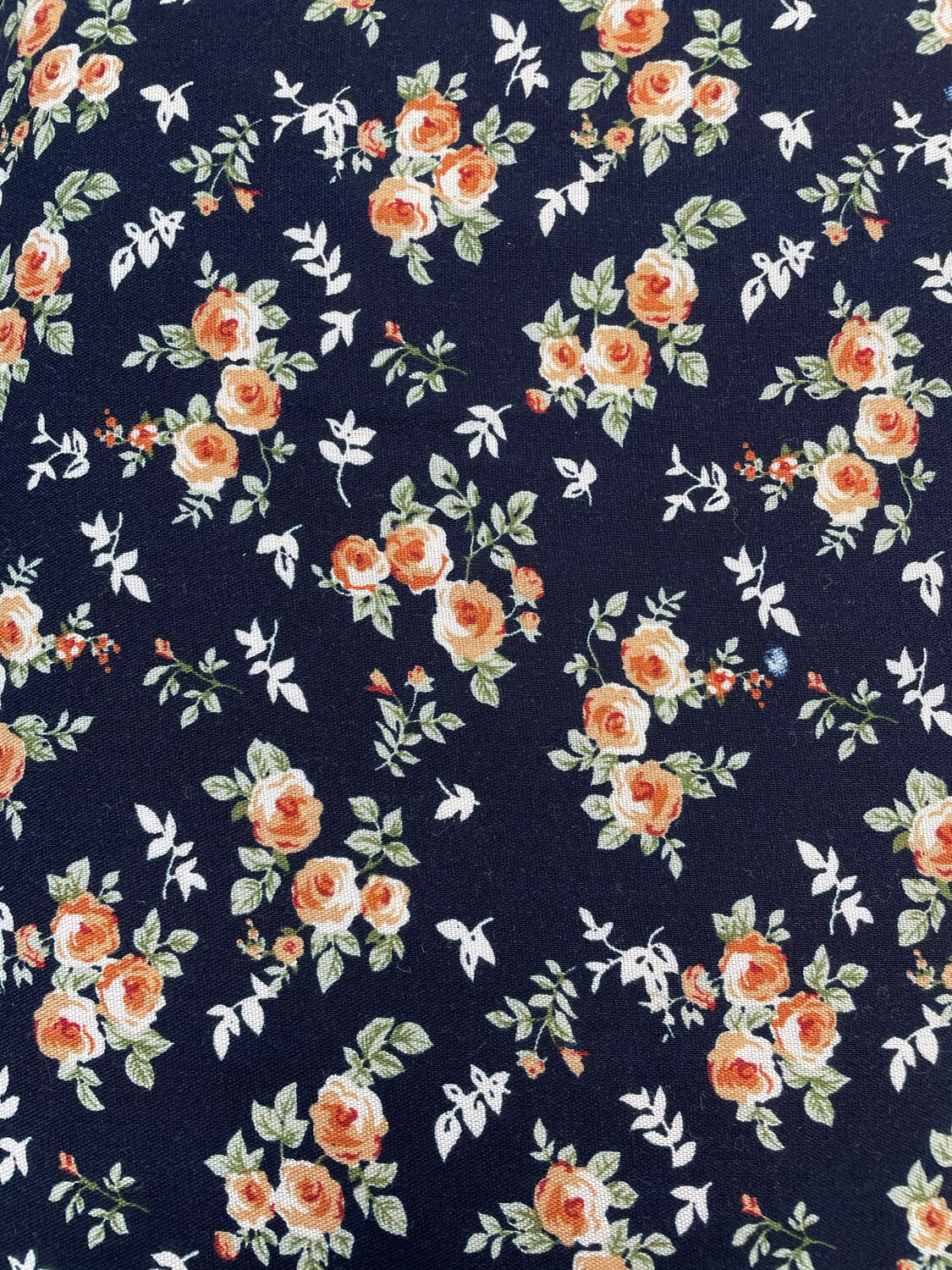 Navy Floral Viscose 145cm Wide Fabric - SECONDS