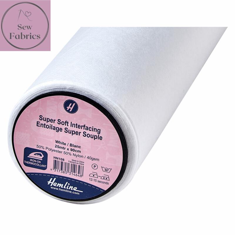 1m x 90cm Hemline Interfacing: Super-Soft: Iron-on: White