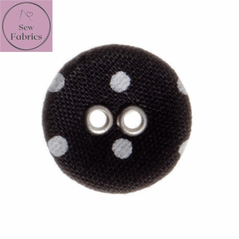 Trimits Black Polka Dot Fabric Spot Button 15mm