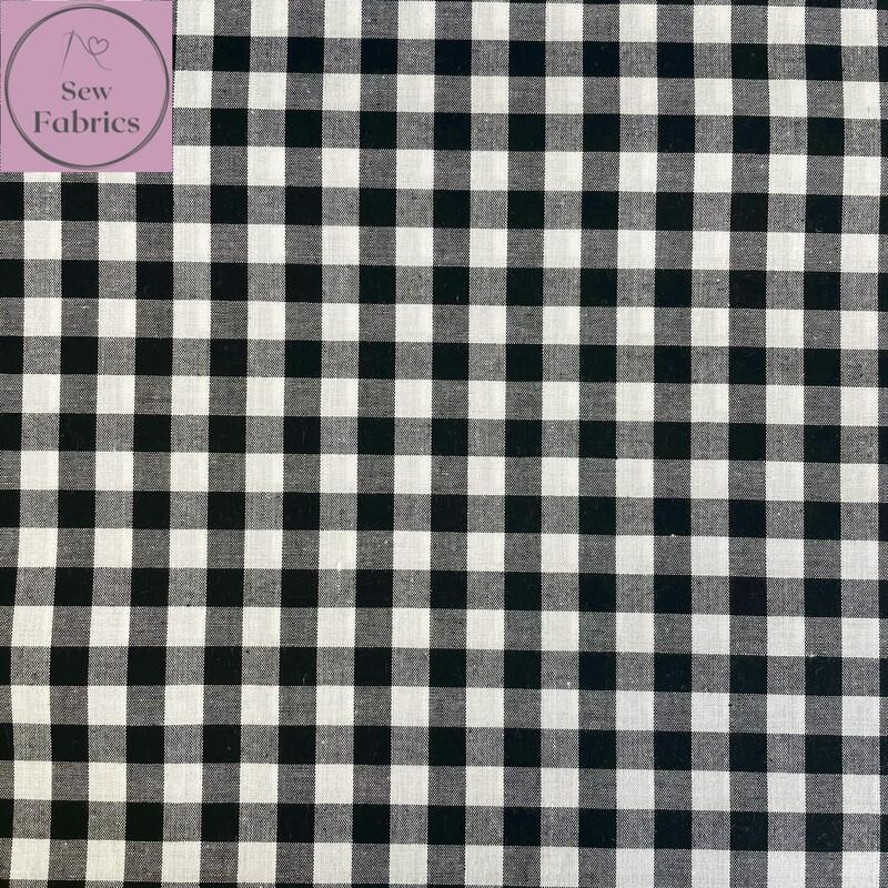 "John Louden Black Gingham 1/3"" 100% Yarn Dyed Cotton Check Fabric"