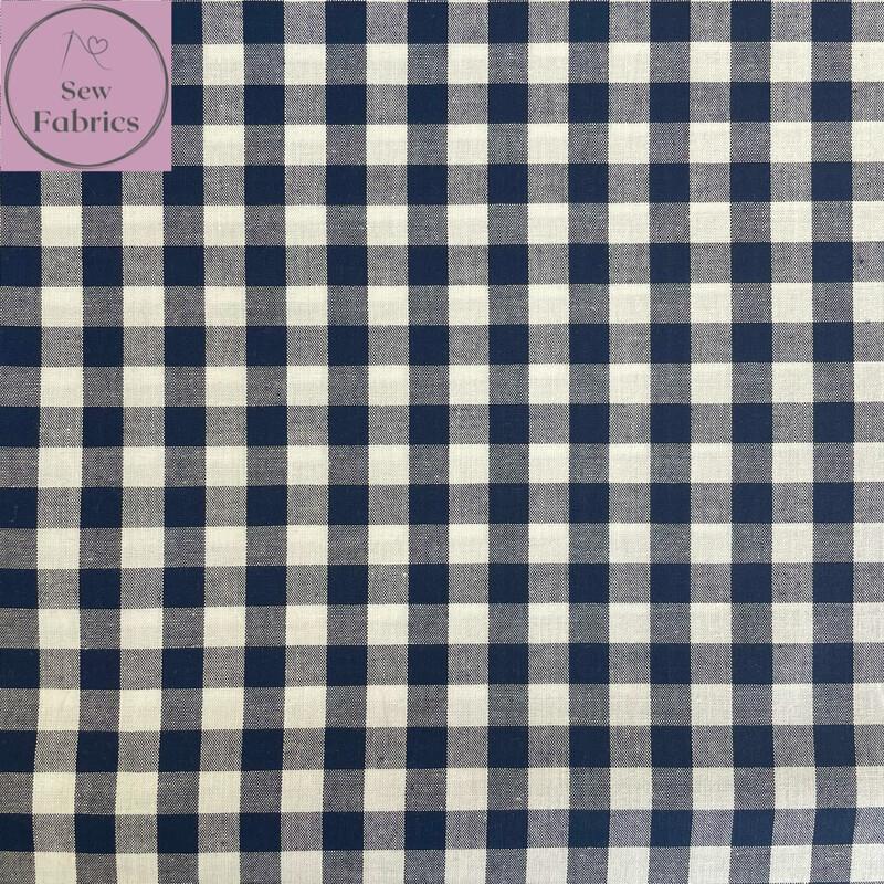 "John Louden Navy Blue Gingham 1/3"" 100% Yarn Dyed Cotton Check Fabric"