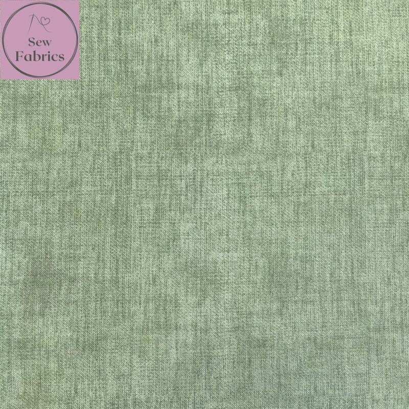 John Louden Sage Green Linen Look Texture 100% Cotton Fabric