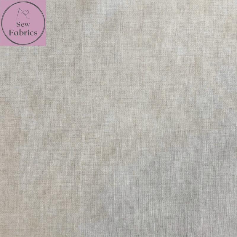 John Louden Ivory Linen Look Texture 100% Cotton Fabric