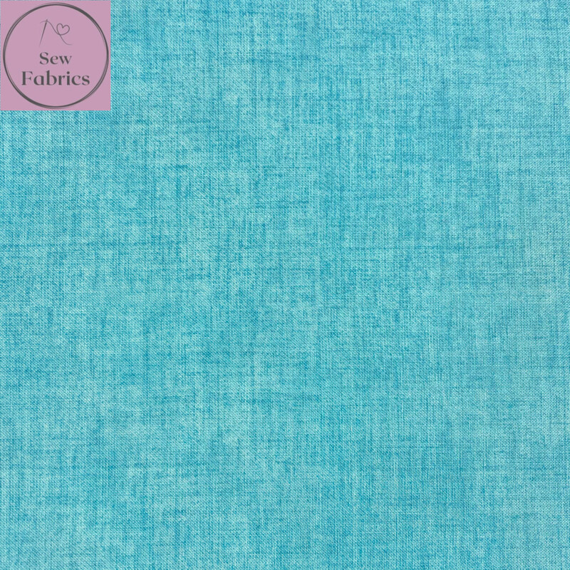 John Louden Riviera Blue Linen Look Texture 100% Cotton Fabric