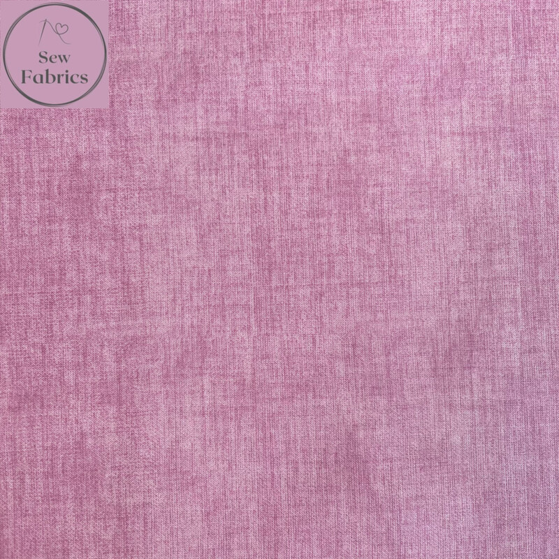John Louden Orchid Pink Linen Look Texture 100% Cotton Fabric