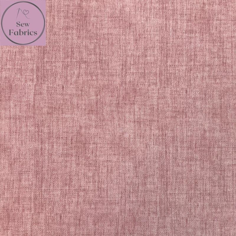 John Louden Rose Pink Linen Look Texture 100% Cotton Fabric