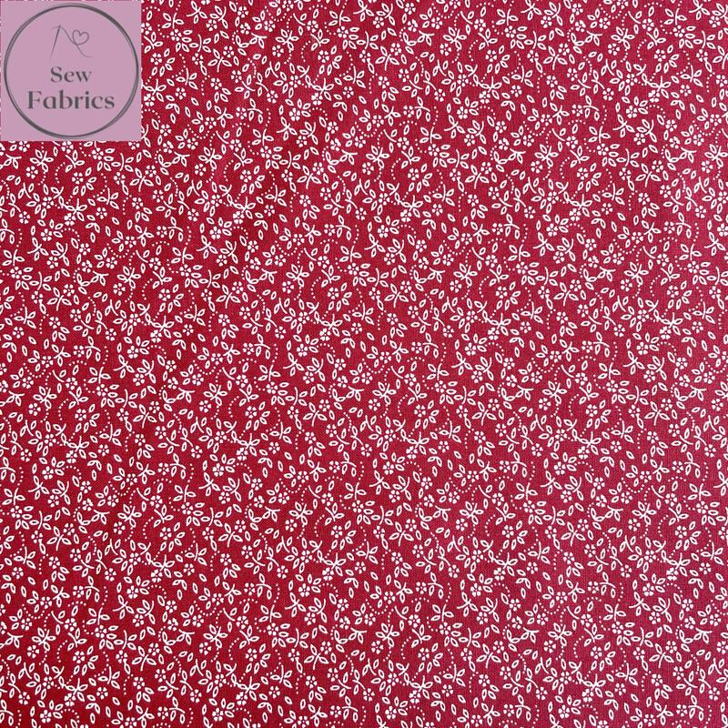 Wine 100% Cotton Ditsy Daisy Fabric