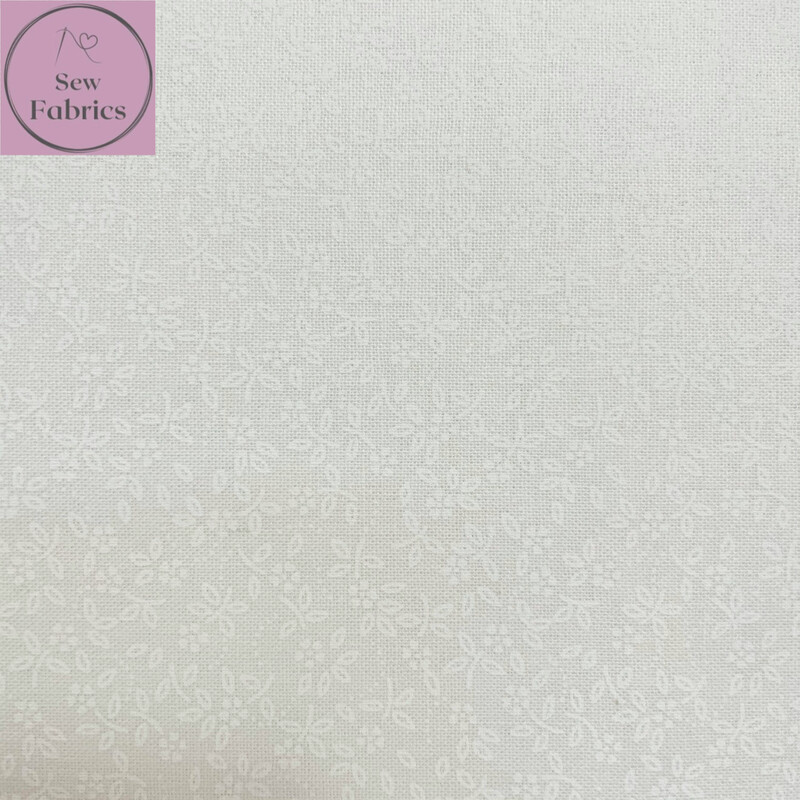 White / White Lacquer 100% Craft Cotton Ditsy Daisy Fabric, Floral Material