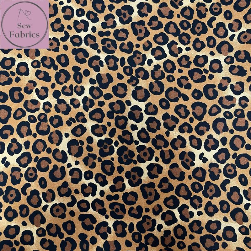 Rose & Hubble Beige Brown Leopard Print 100% Cotton Poplin Fabric, Animal Print Material